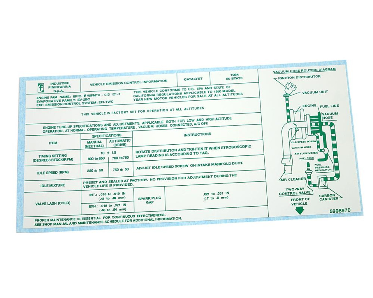 Vehicle Emission Control Information Decal - 1984