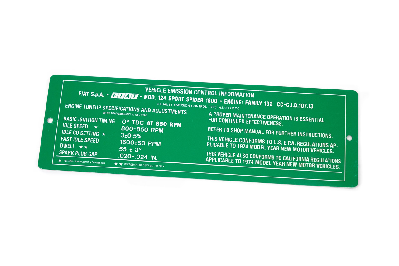 FIAT 124 Spider Vehicle Emission Plate - 1975 (RS0-165 ) - Auto Ricambi