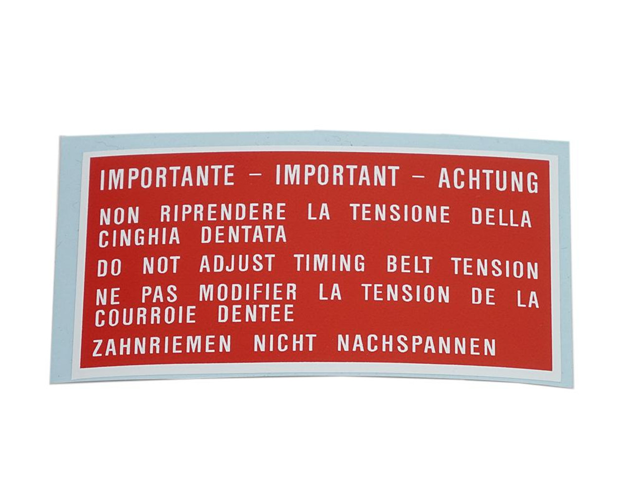 Auto Ricambi Timing Belt Cover Decal - IMPORTANTE - 1983-85 FIAT 124 Spider Parts