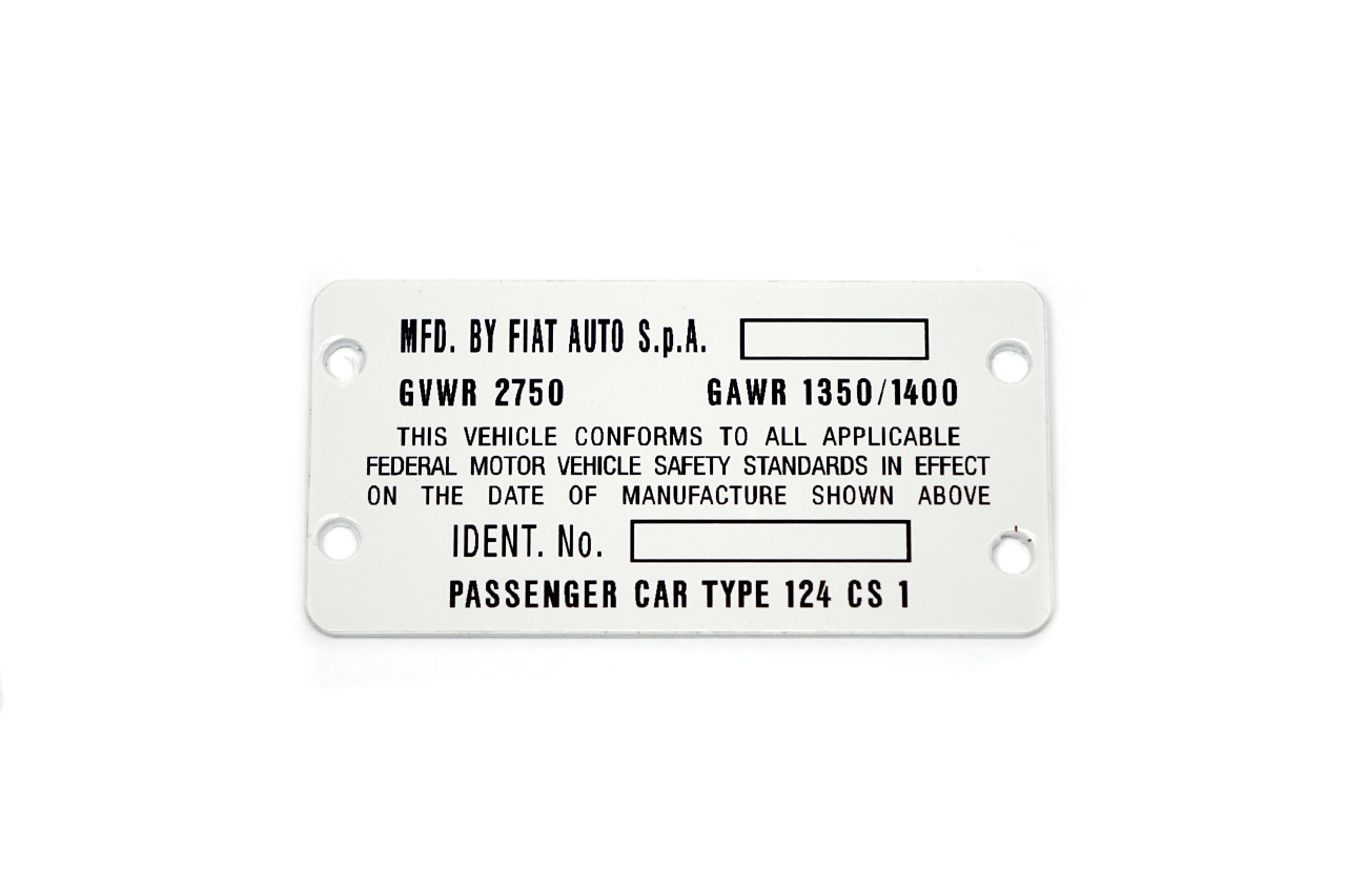 Vehicle identification number plate - Auto Ricambi FIAT 124 Spider CS1 - 1974-1978 (1756cc)