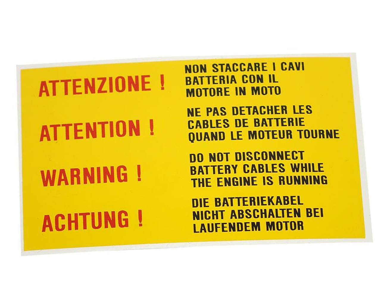 Warning! - Do Not Disconnect Battery Decal