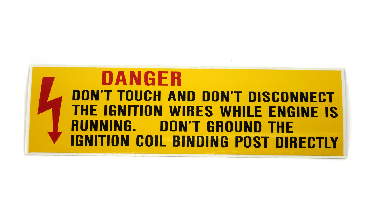 DANGER - Don't Touch and Don't Disconnect... Ignition Decal FIAT Spider 2000 and Pininfarina - 1979-1985  - Auto Ricambi