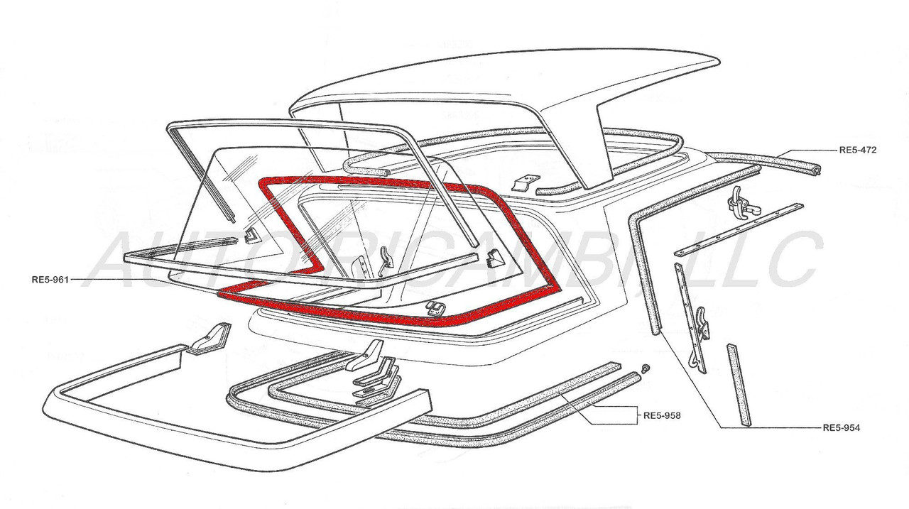 Pininfarina Hard Top Rear Glass Seal