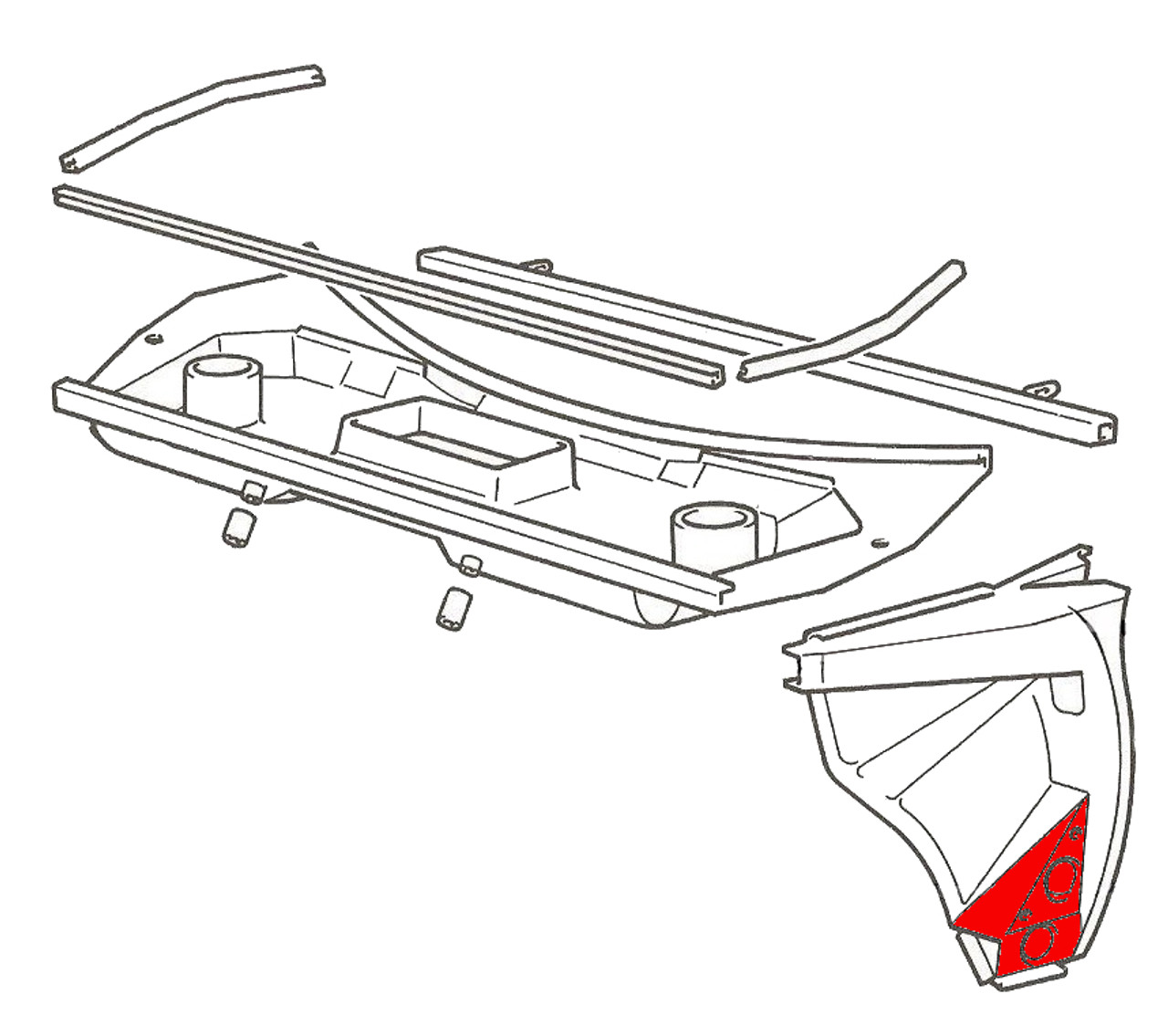 Driver side (left) outer rocker front piece with upper box section - Auto Ricambi FIAT 124 Spider, Spider 2000 and Pininfarina - 1966-1985