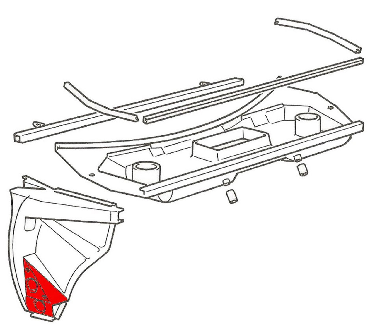 Passenger side (right) outer rocker front piece with upper box section - Auto Ricambi FIAT 124 Spider, Spider 2000 and Pininfarina - 1966-1985