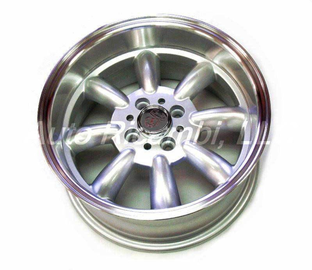 "Monza wheels 15"" x 7.5"", 15mm offset in silver  - Auto Ricambi FIAT 124 Spider, Sport Coupe, Spider 2000 and Pininfarina 1966-1985"