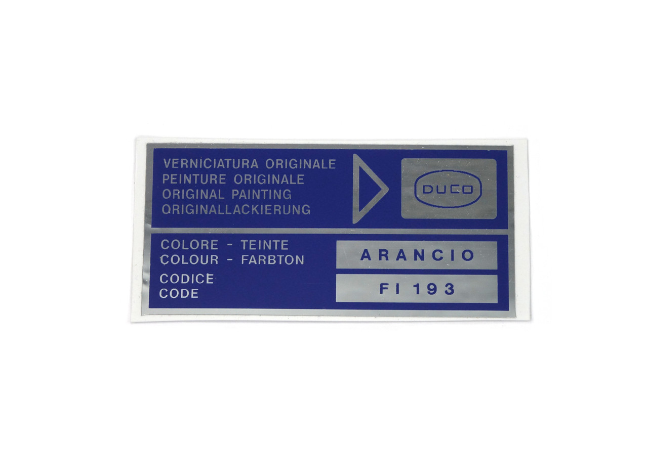 Paint code trunk decal DUCO Arancio (Orange) - FI 193 - Auto Ricambi