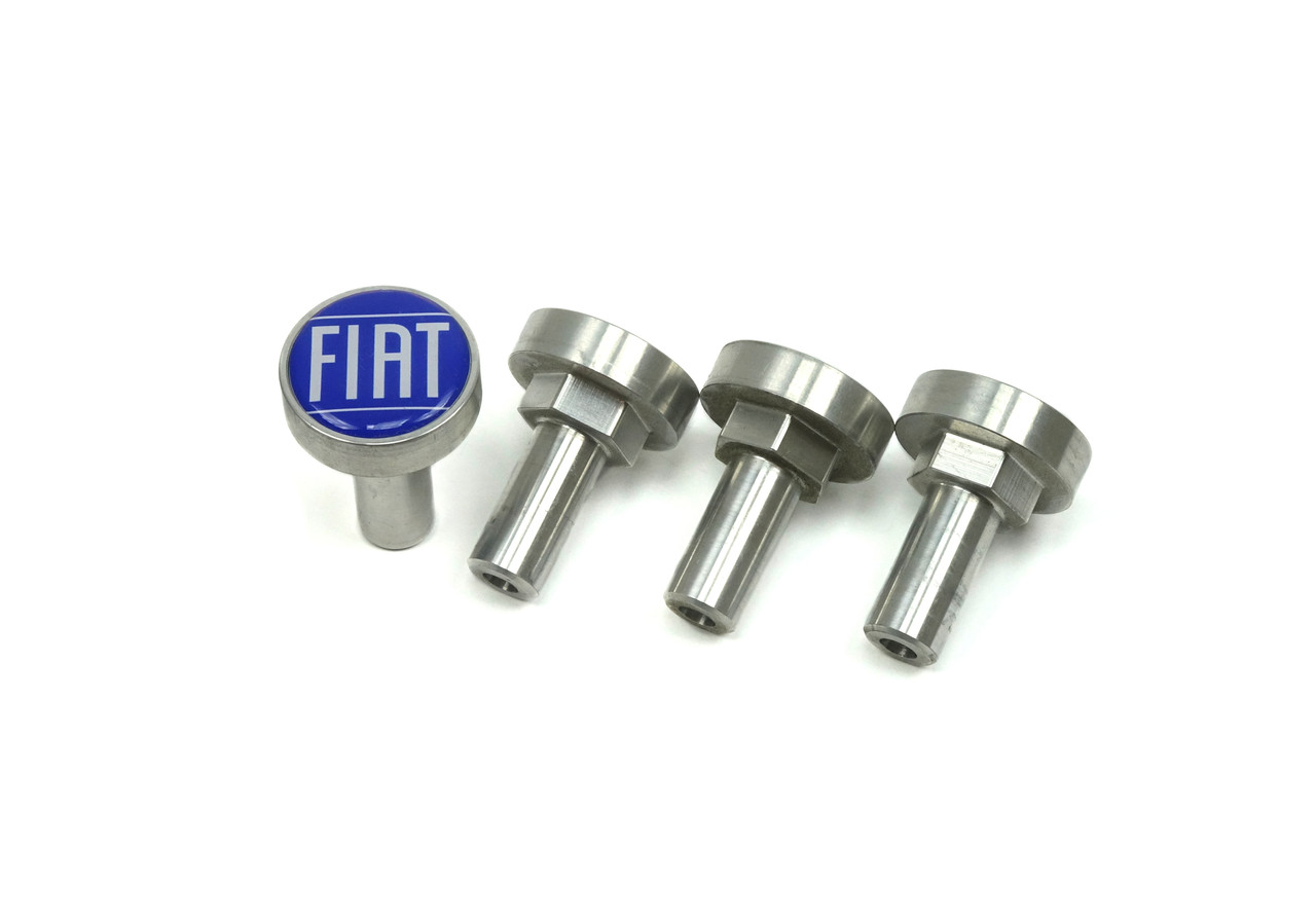 Custom billet valve cover hold down bolt set with blue FIAT logo FIAT 124 Spider, Sport Coupe, Spider 2000 and Pininfarina - 1966-1985 - Auto Ricambi