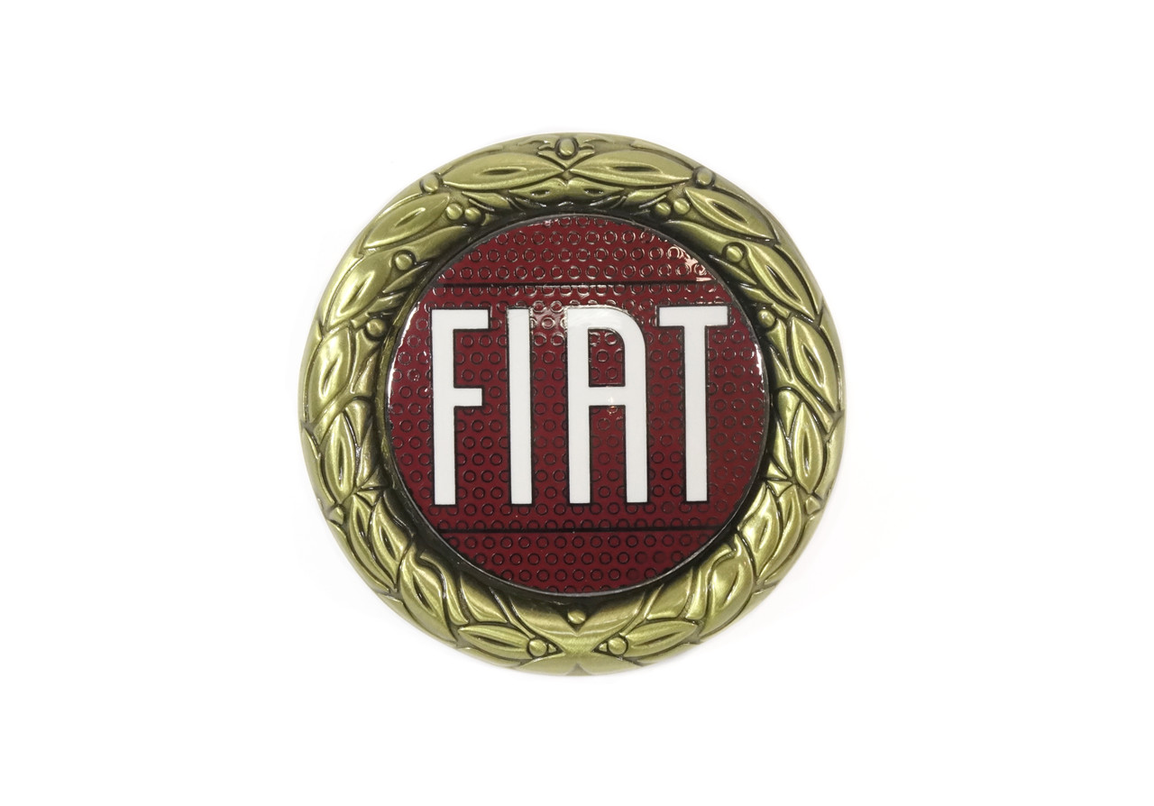 Red enamel gold wreath FIAT emblem FIAT 124 Spider - 1966-1974 (Can be fitted to all years) FIAT 124 Sport Coupe  - 1966-1972 - Auto Ricambi