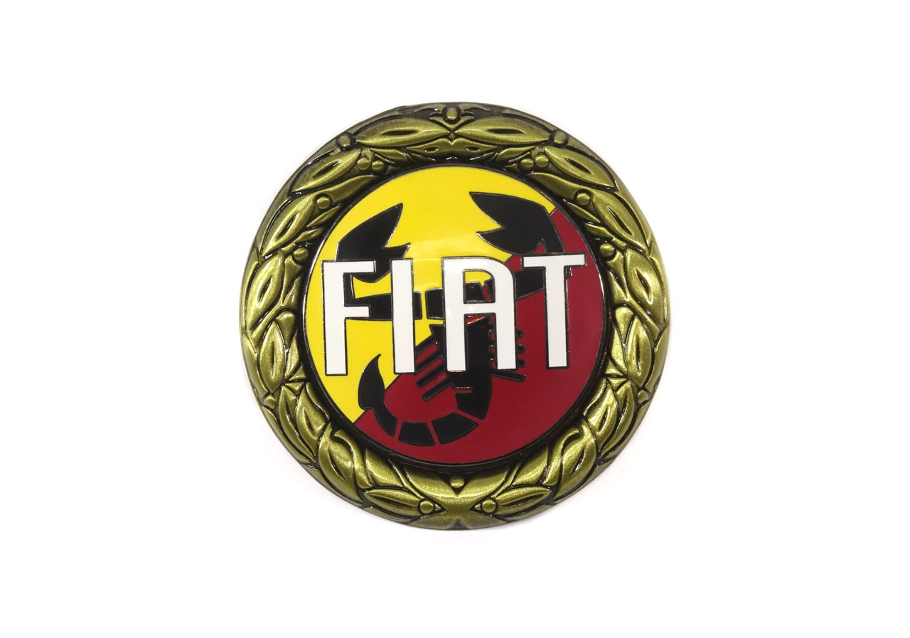 Red/yellow enamel gold wreath FIAT emblem with a scorpion in the background FIAT 124 Spider - 1966-1985 FIAT 124 Sport Coupe  - 1966-1972 - Auto Ricambi
