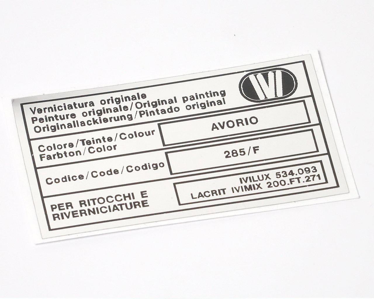 Paint Code Decal - IVI - Avorio (Ivory)
