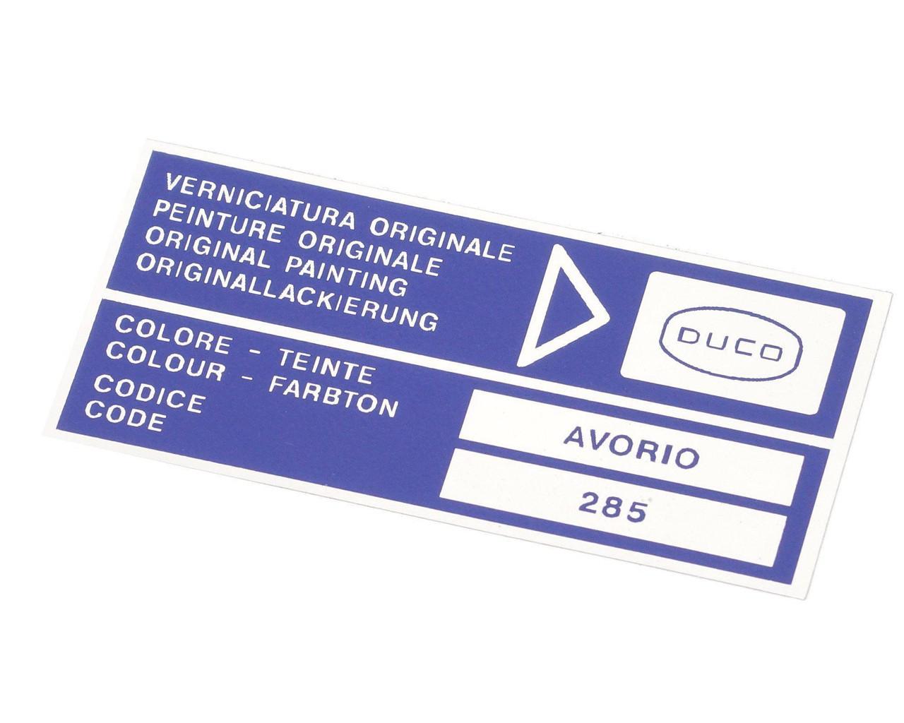 Paint Code Decal - DUCO - Avorio (Ivory)