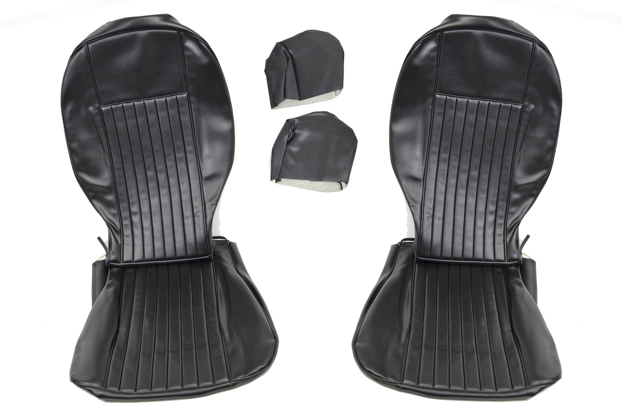 Front and Rear Seat Black Upholstery Kit - 1966-78