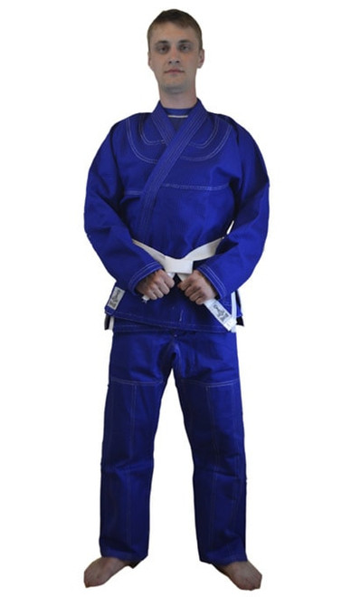 Blue Bjj Gold Weave Gi with contrast Stitching
