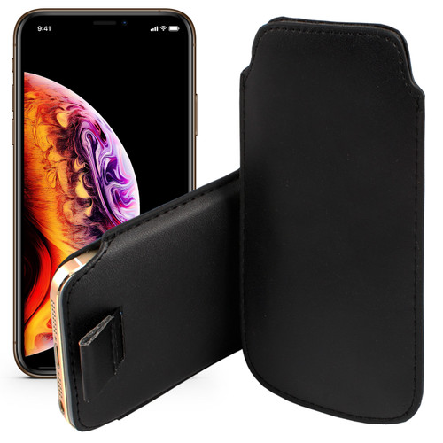 """Black Pull Tab Pouch Slim Sleeve PU Leather Case for Apple iPhone 11 (6.1"""")"""