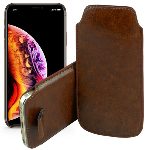 """Brown Pull Tab Pouch Slim Sleeve PU Leather Case for Apple iPhone 11 Pro Max (6.5"""")"""
