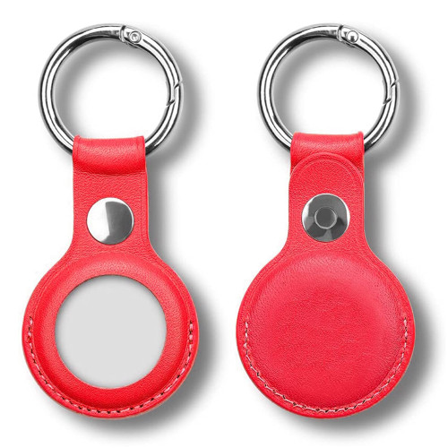 [2 pack] Red PU Leather Protective Case Holder for Apple AirTag Tracker with Keychain Ring