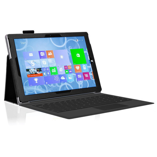 "Black Folio Flip Leather Case Cover for Microsoft Surface Go (10"")"