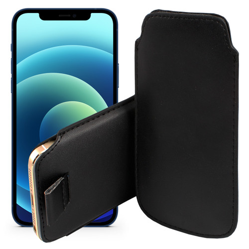 """iPhone 13 (6.1"""") Black Pull Tab Pouch Slim Sleeve PU Leather Case"""