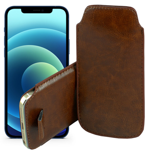 """iPhone 13 Pro (6.1"""") Brown Pull Tab Pouch Slim Sleeve PU Leather Case"""