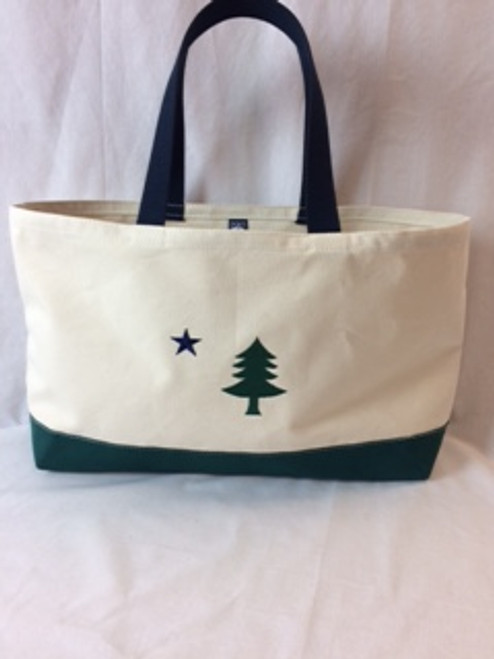 Natural Body, Navy Blue Handles, Navy Blue Bottom featuring embroidered image of 1901 Original Maine State Flag.