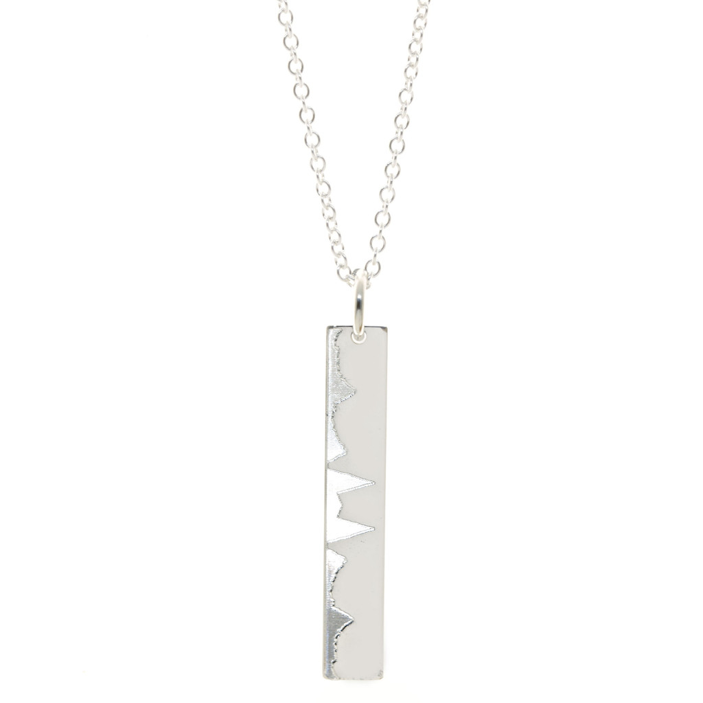 Custom race or hike elevation profile necklace. Shown in sterling silver on cable chain. Leadville 100 mile trail run.