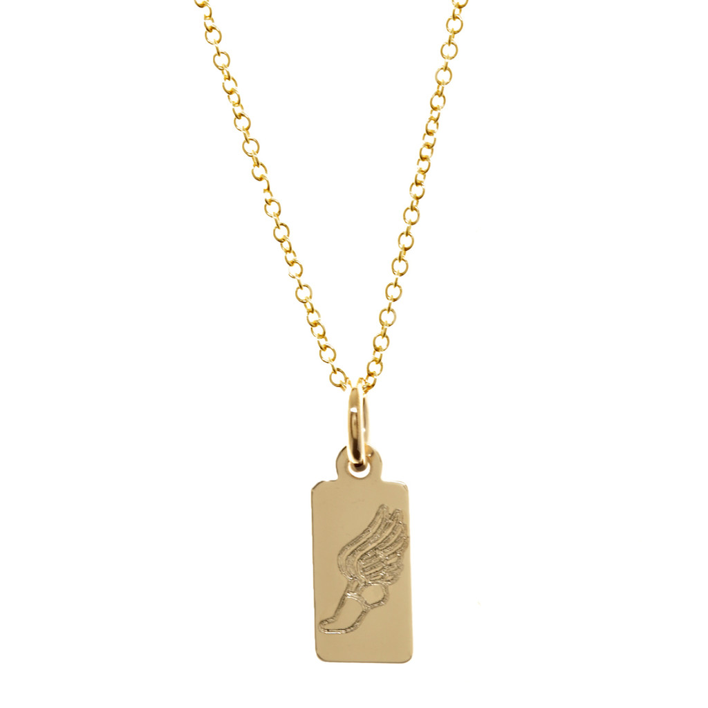 Runner Winged Foot Necklace. Gold fill. Fine cable chain.