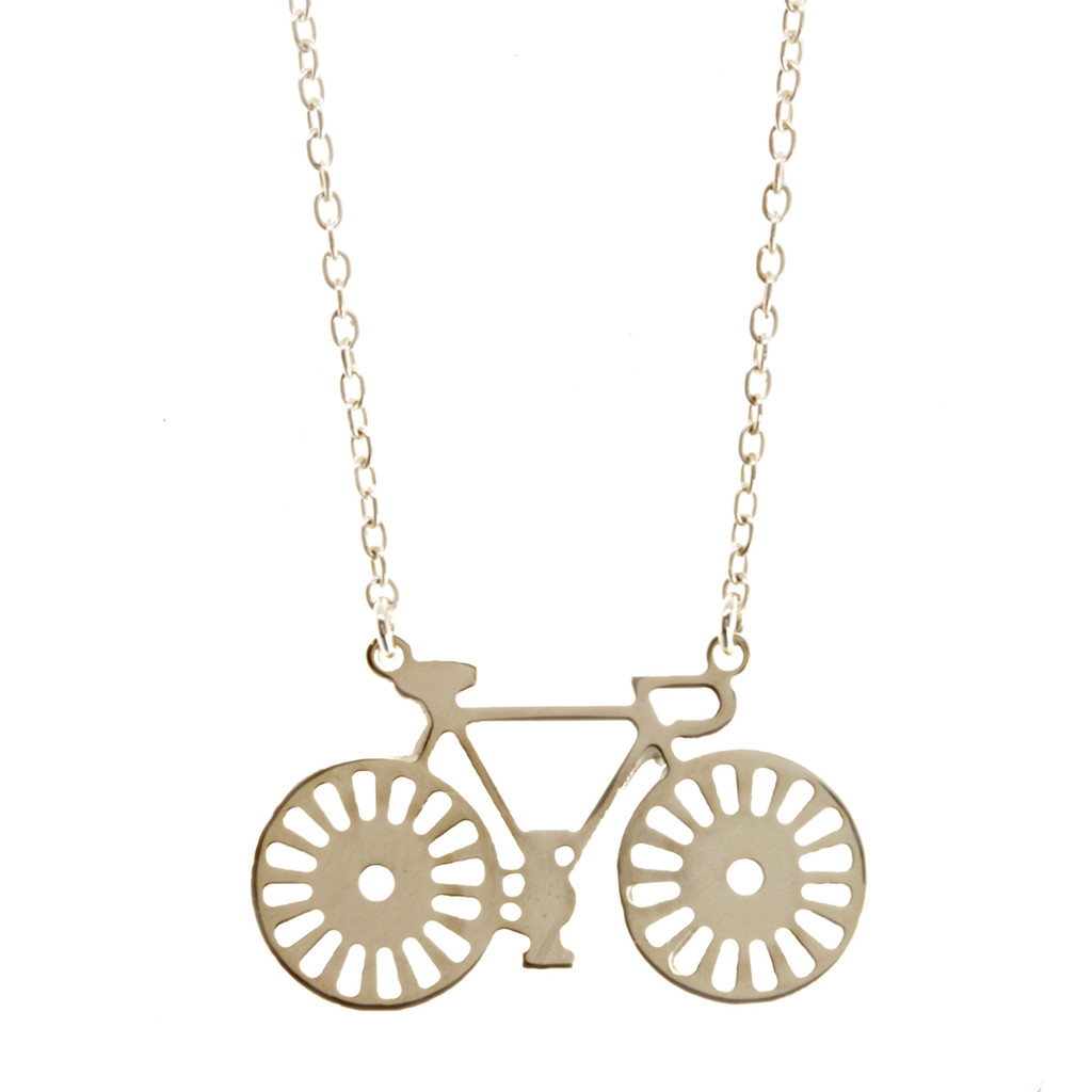 Sterling silver bicycle necklace