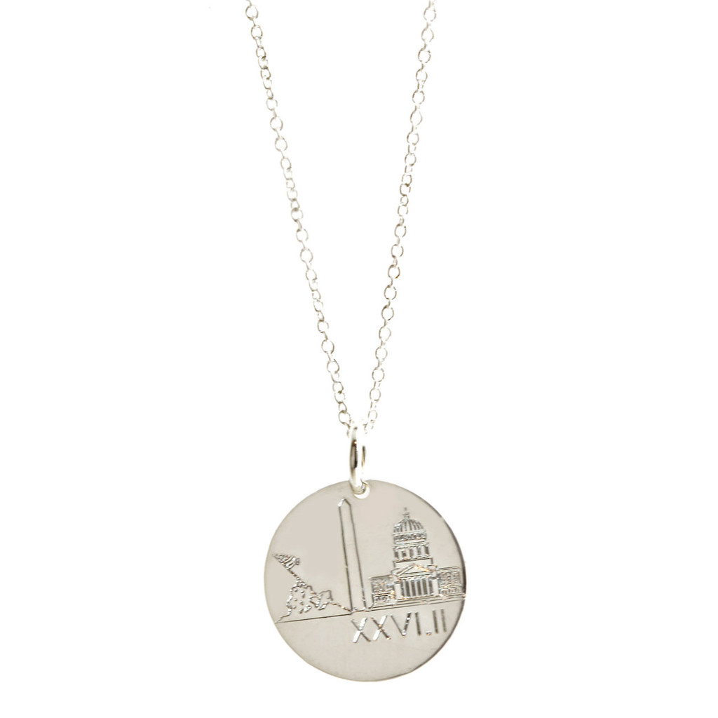 Marine Corps Marathon Landmark Necklace. Shown in sterling silver on fine cable chain.
