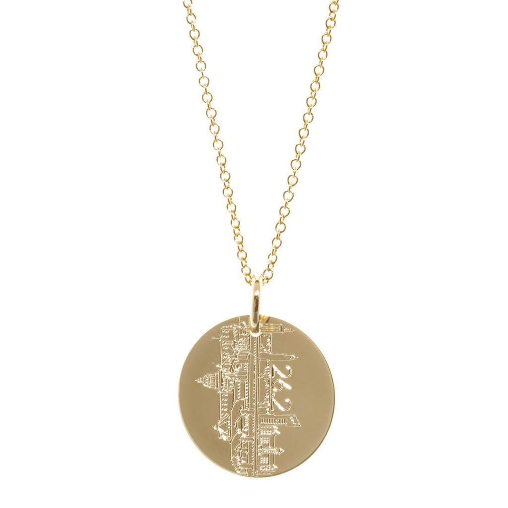 Twin Cities Marathon engraved necklace. Show in gold fill on satellite chain.