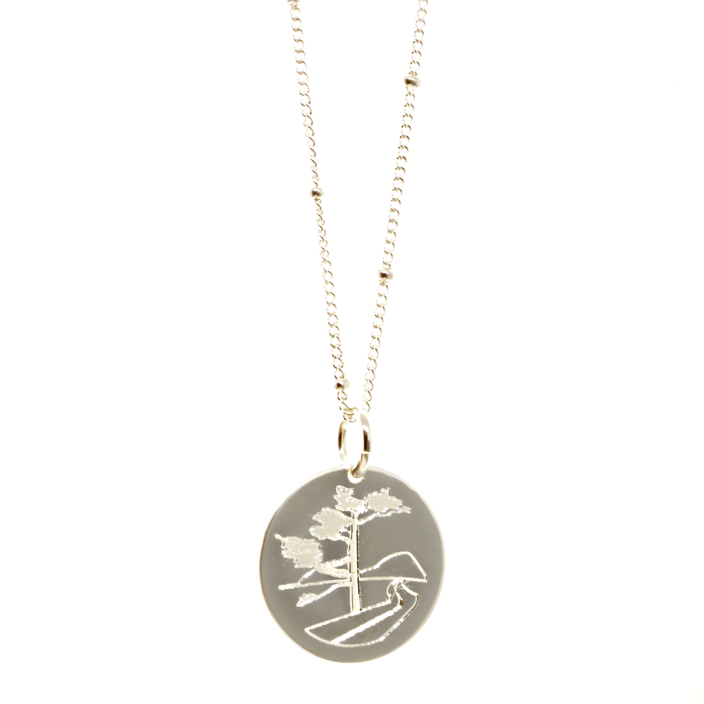 Mount Desert Island Marathon necklace. Shown in sterling silver on satellite chain.