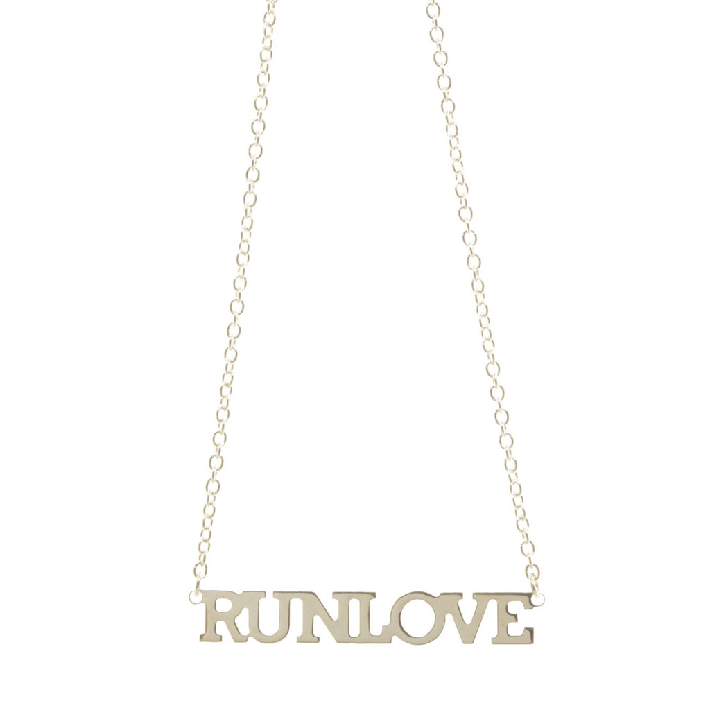 RUN LOVE ID Necklace. Sterling silver. Handmade.