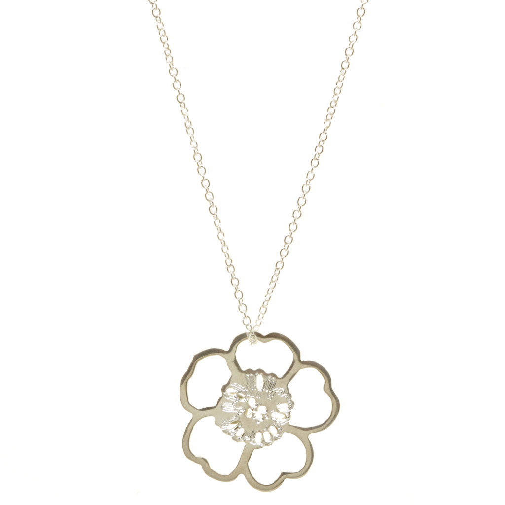Sterling silver flower power necklace. Cable chain.