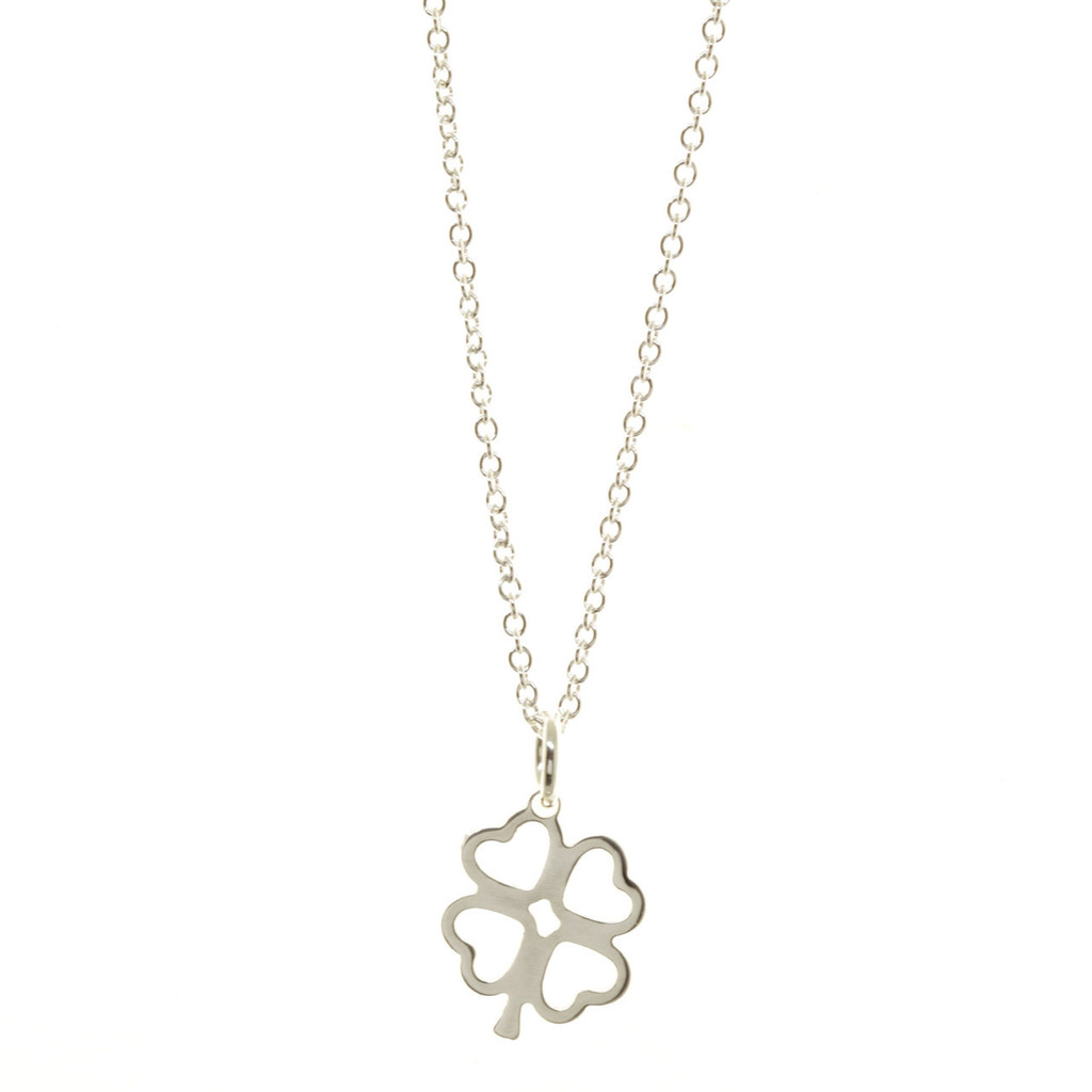 Sterling silver four leaf clover. Cable chain.