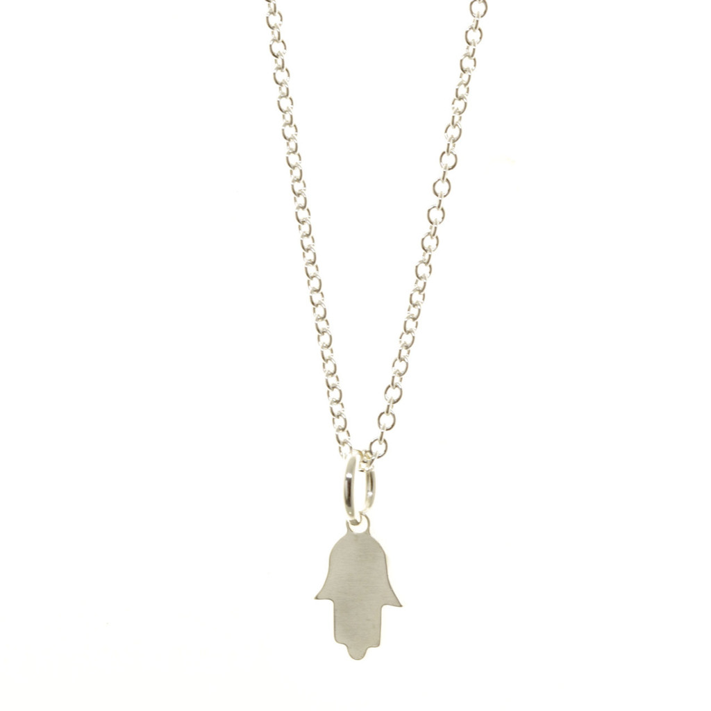 Sterling silver hamsa necklace. Cable chain.
