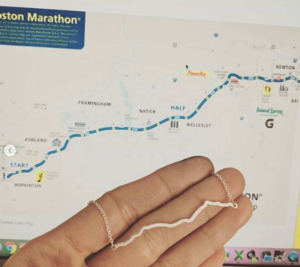 Boston Marathon course necklace.