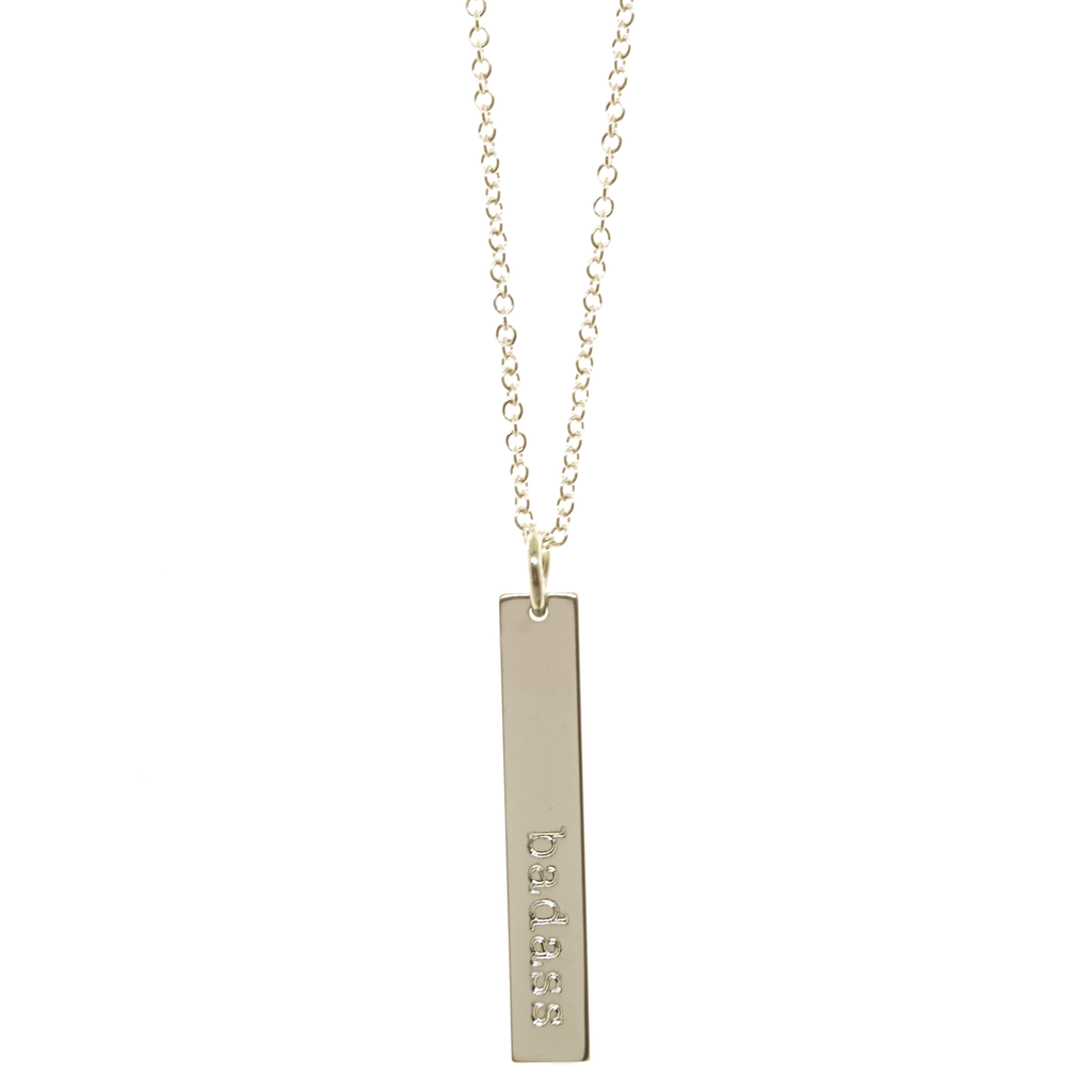 Badass defined necklace.  Shown in sterling silver on cable chain.