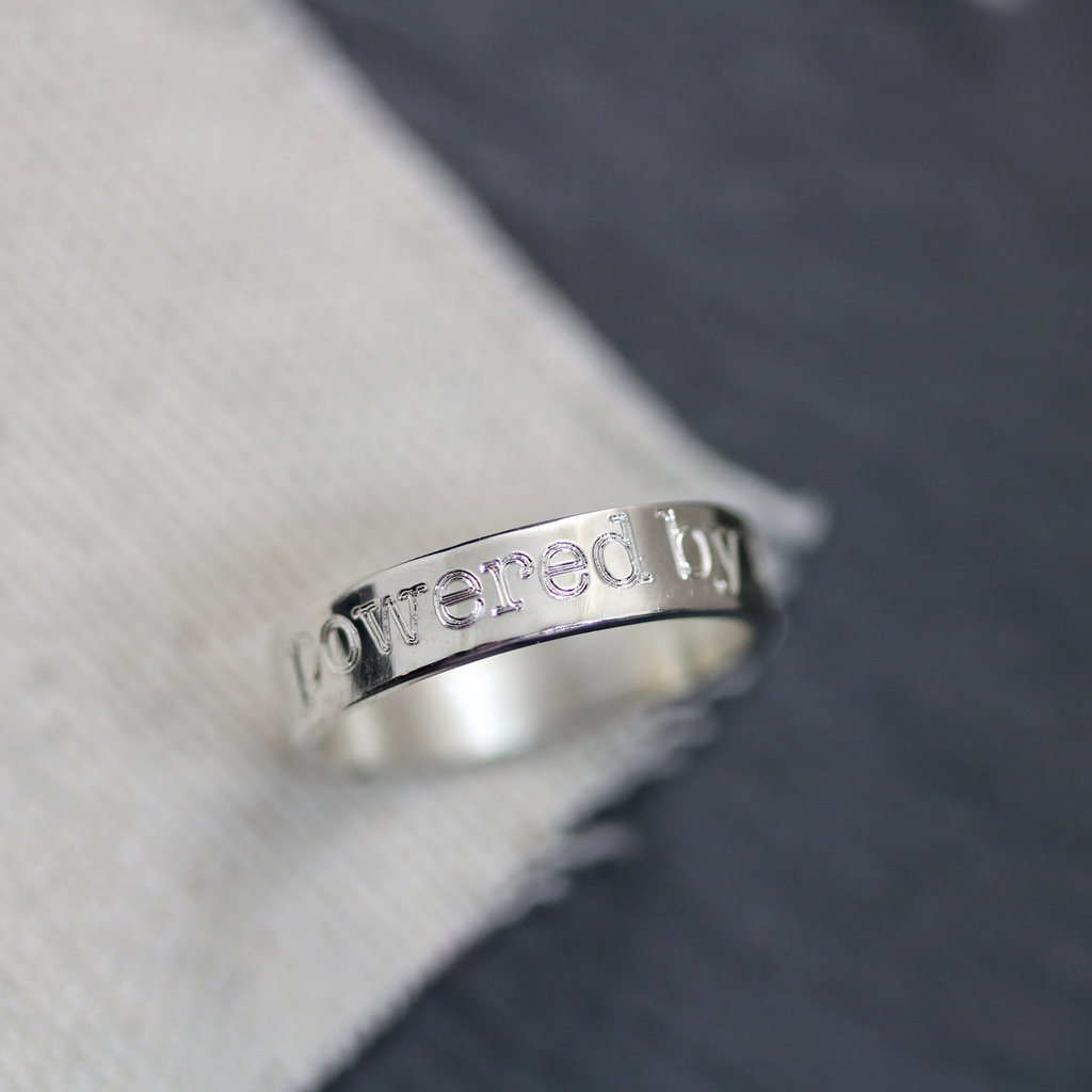 Engraved mantra ring. Sterling silver. Handmade. Type font.