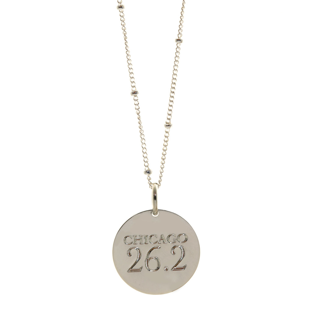 Chicago 26.2 necklace. Shown in sterling silver on satellite chain. Cochin font.