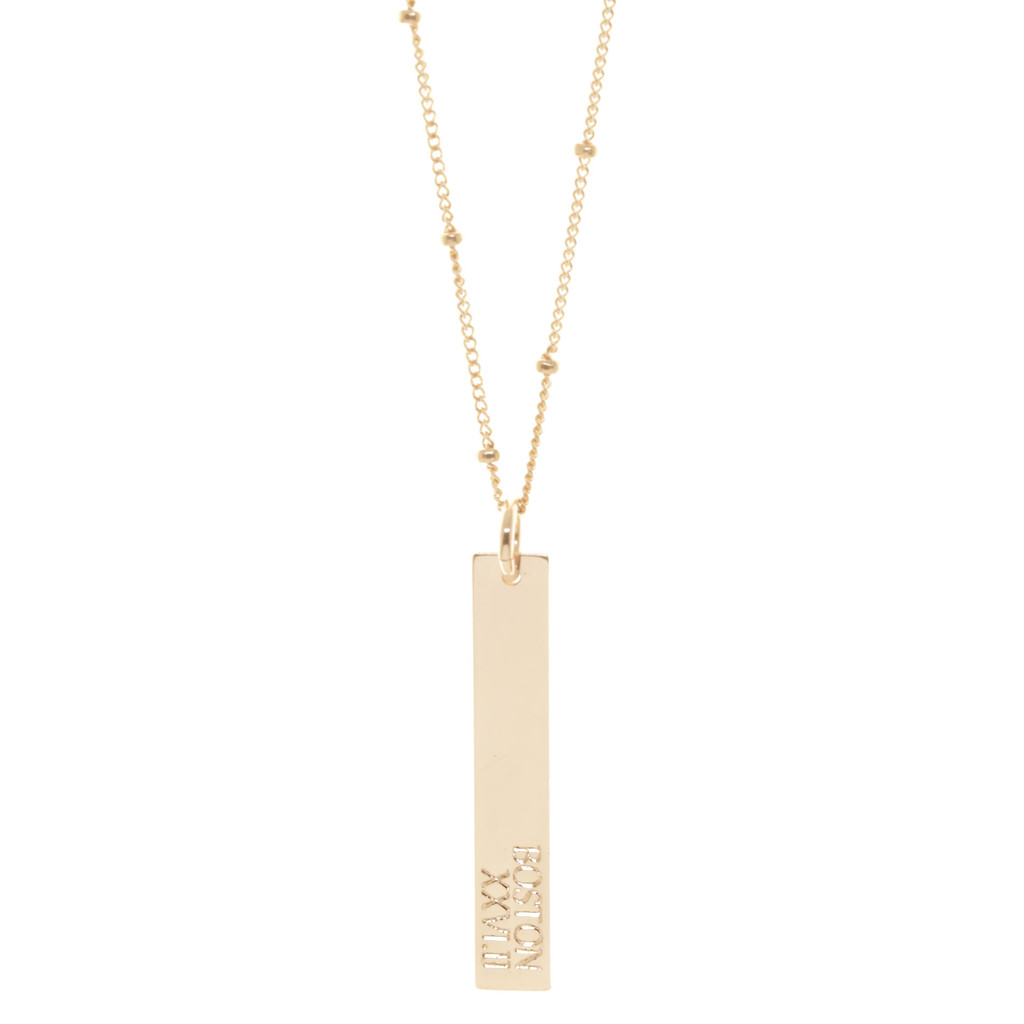 Boston Marathon  engraved necklace. Shown in gold fill on satellite chain. Gabriola font.