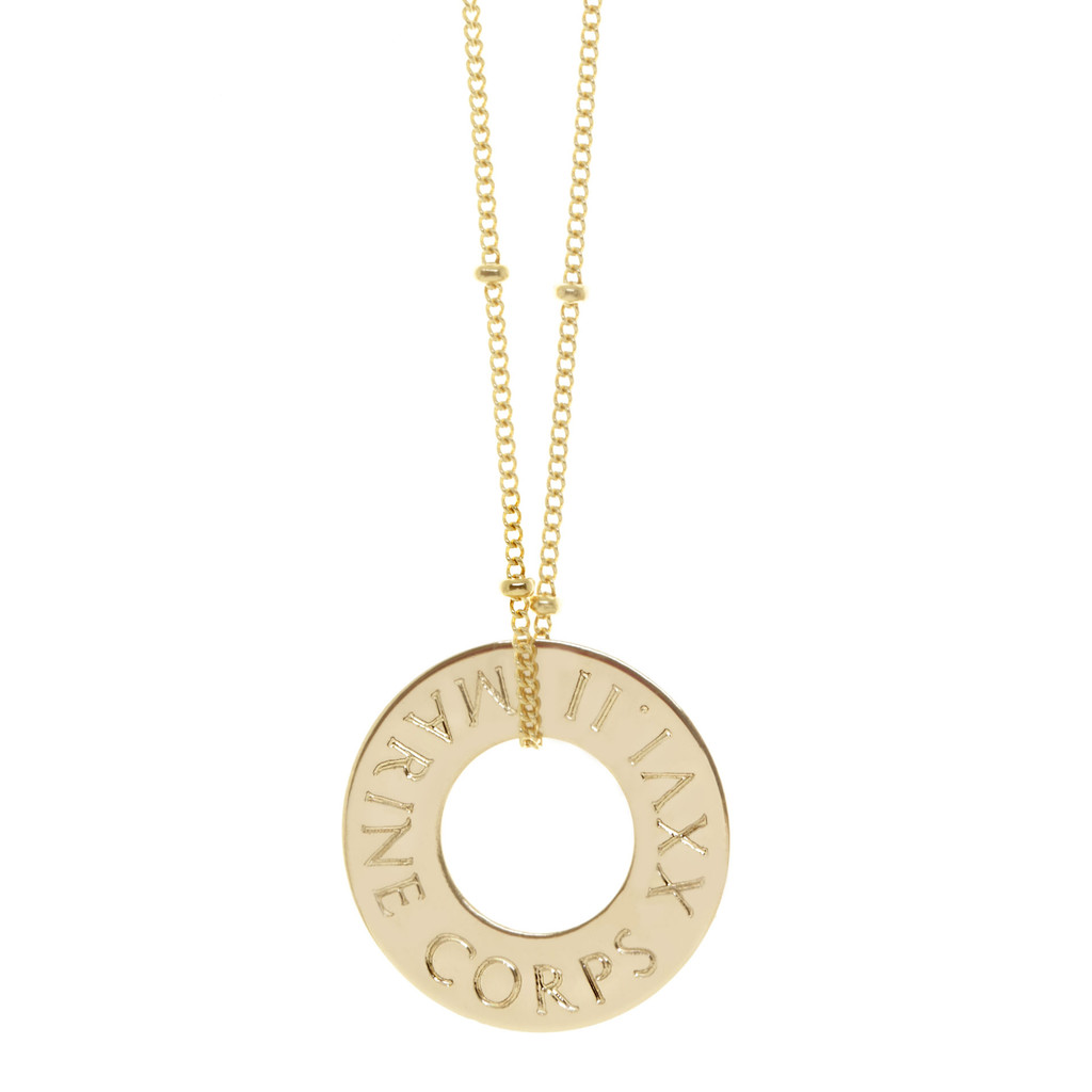 Marine Corps Marathon necklace. Shown in gold fill on cable chain. Gabriola font.