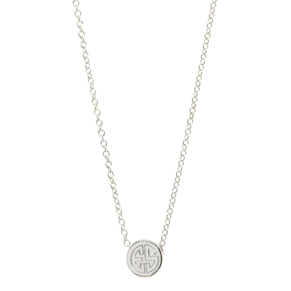 Monogram Bead Necklace. Block monogram font.