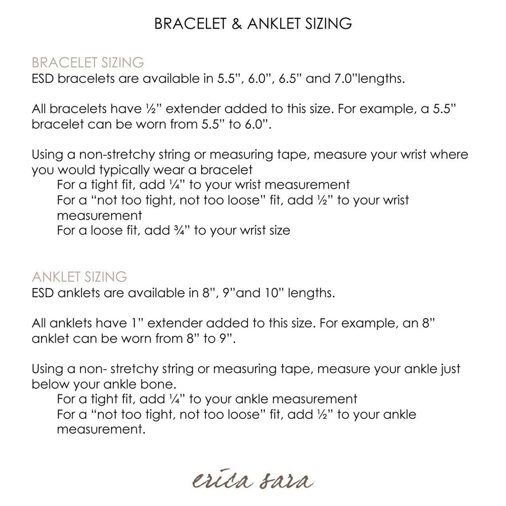 Anklet sizing