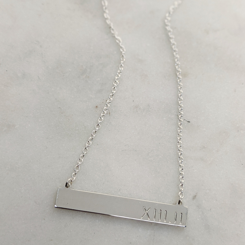 Roman Numeral 13.1 Sterling Silver ID Necklace