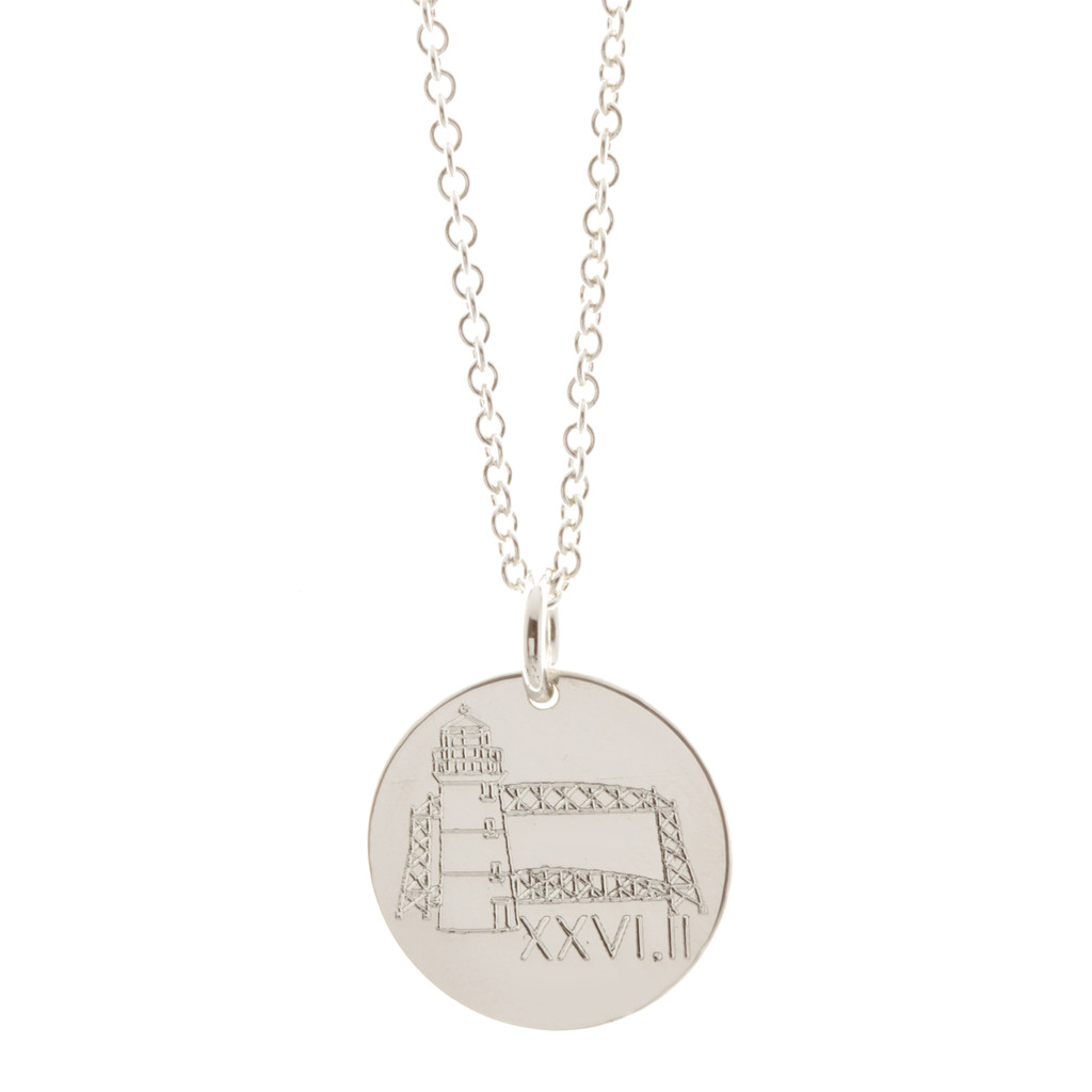 Grandma's Marathon engraved necklace. Shown in sterling silver on cable chain.
