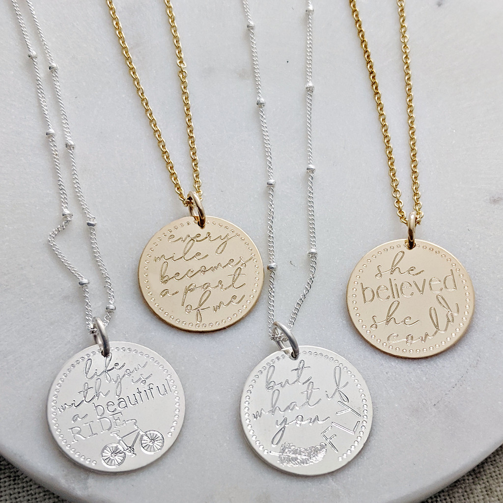Engraved Intention Mantra Necklaces.