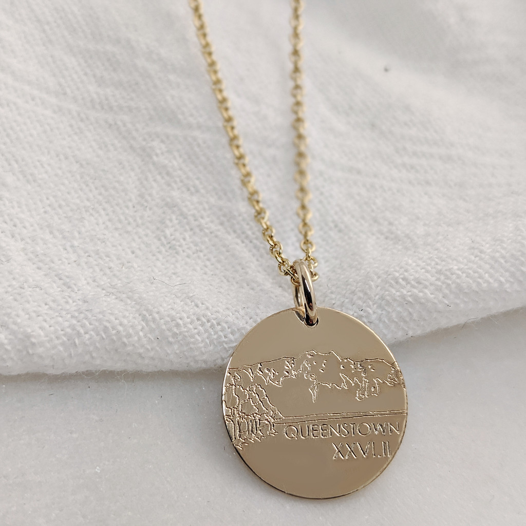 Queenstown Marathon Necklace. Shown in gold fill on cable chain.