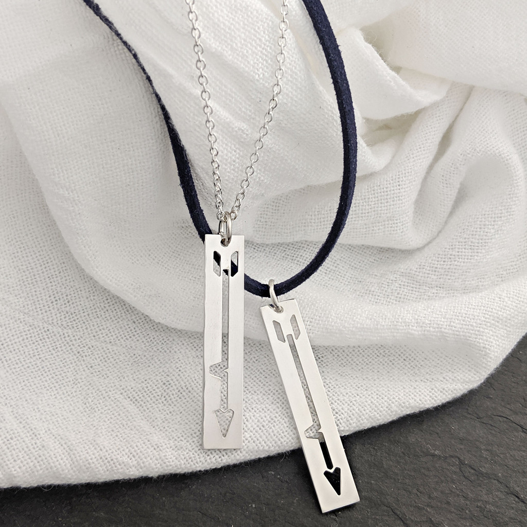 BRAVE Like Gabe necklace. Sterling silver on cable chain and navy suede chain.