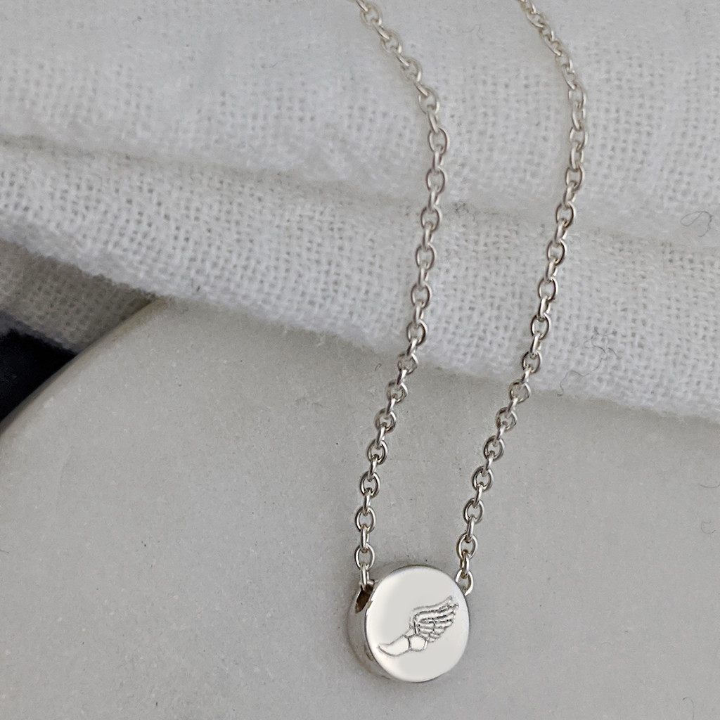 Track and field winged foot engraved necklace
