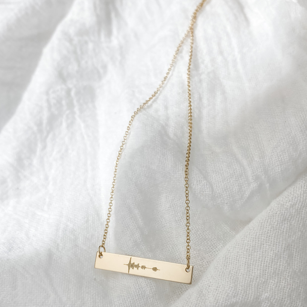 Sound Wave Bar Necklace. Shown in gold fill